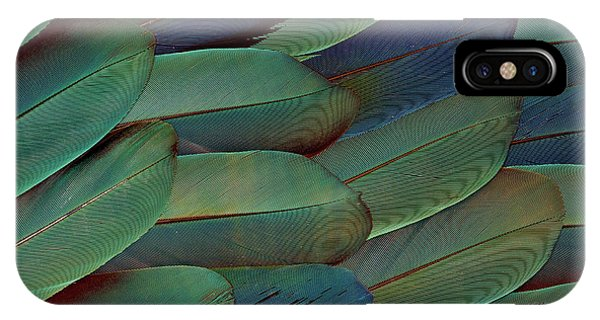 Scarlet iPhone Case - Scarlet And Blue Gold Macaw Wing by Darrell Gulin