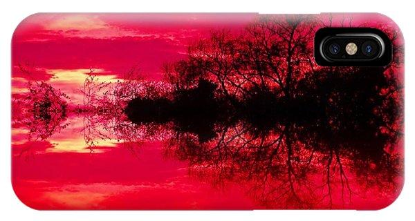 Treeline iPhone Case - Scarlet Dusk by Sharon Lisa Clarke