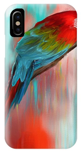 Scarlet iPhone Case - Scarlet- Red And Turquoise Art by Lourry Legarde