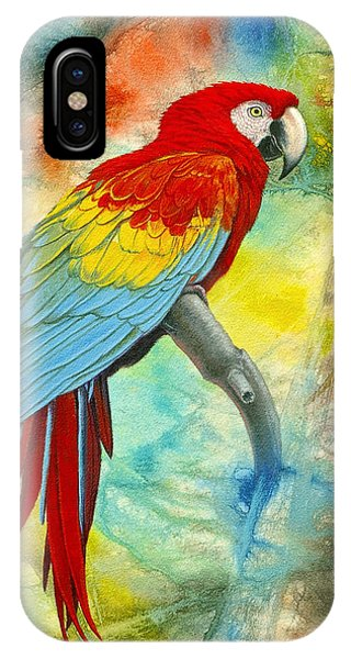 Macaw iPhone Case - Scarlet Macaw In Abstract by Paul Krapf