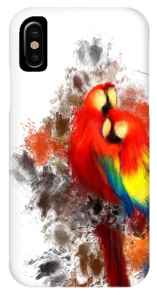 Macaw iPhone Case - Scarlet Macaw by Lourry Legarde