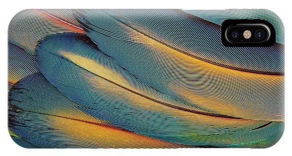 Scarlet iPhone Case - Scarlet Macaw Wing Feathers Fan Design by Darrell Gulin