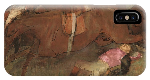 Accident iPhone Case - Scene From The Steeplechase The Fallen Jockey by Edgar Degas