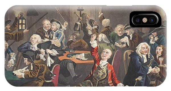 Debts iPhone Case - Scene In A Gaming House, Plate Vi by William Hogarth
