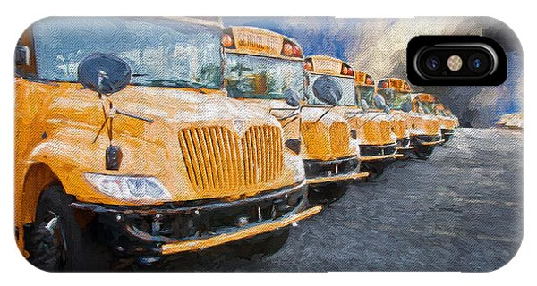 School Bus Lot Painterly IPhone Case
