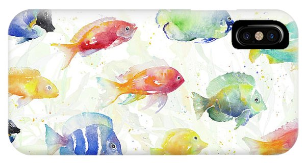 Sea iPhone X Case - School Of Tropical Fish by Lanie Loreth