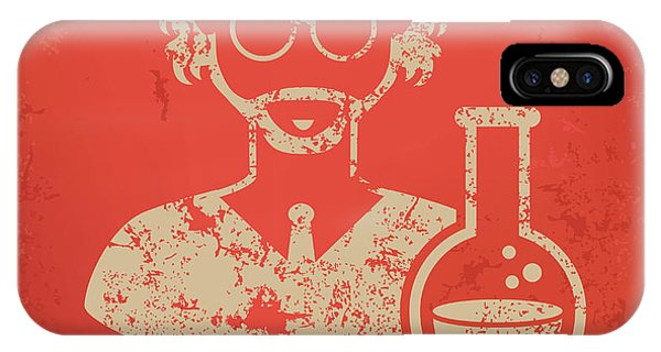 Vector iPhone Case - Scientist On Red Background,poster by Mamanamsai