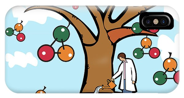Scientist Watering An Atomic Structure Tree Phone Case by Fanatic Studio / Science Photo Library