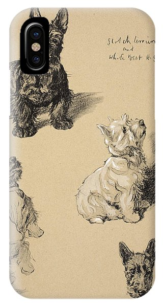 Small Dog iPhone Case - Scotch Terrier And White Westie by Cecil Charles Windsor Aldin