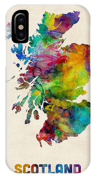 Scotland iPhone Case - Scotland Watercolor Map by Michael Tompsett