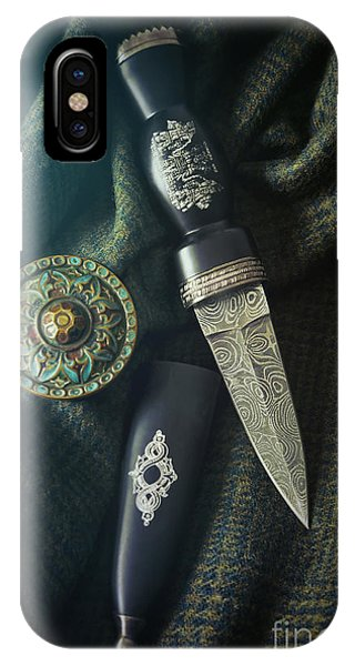 Scottish Dirk And Celtic Pin Brooch On Plaid IPhone Case