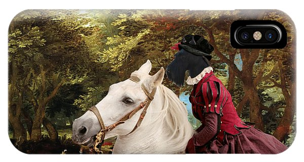 Scottish Terrier Art - Pasague With Horse Lady IPhone Case