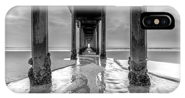 Scripps Pier Black And White IPhone Case