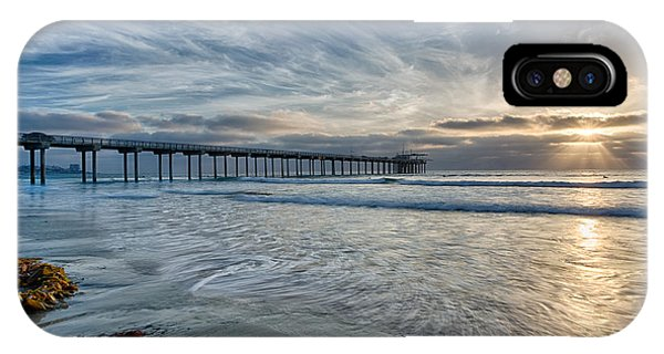 Scripps Pier iPhone Case - Scripps Pier Sky And Motion by Peter Tellone