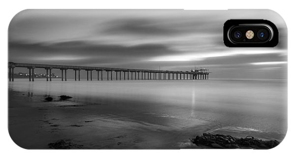 Scripps Pier iPhone Case - Scripps Pier Twilight - Black And White by Peter Tellone