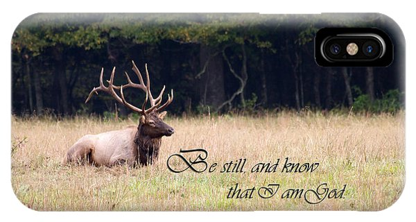 Scripture Photo With Elk Sitting IPhone Case