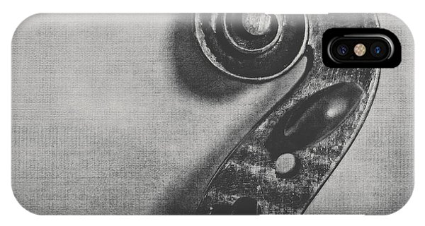 Violin iPhone X Case - Scroll In Black And White by Emily Kay