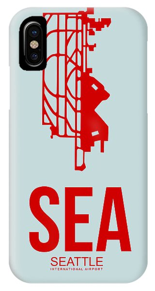 Seattle iPhone X Case - Sea Seattle Airport Poster 1 by Naxart Studio