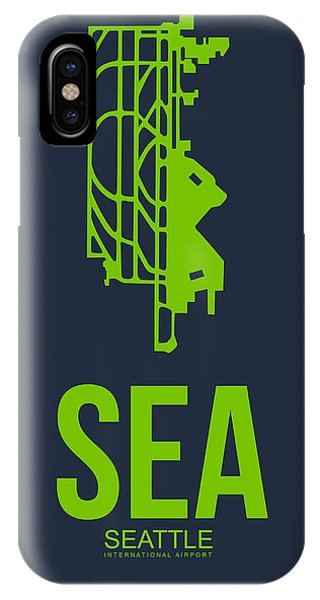 Seattle iPhone X Case - Sea Seattle Airport Poster 2 by Naxart Studio