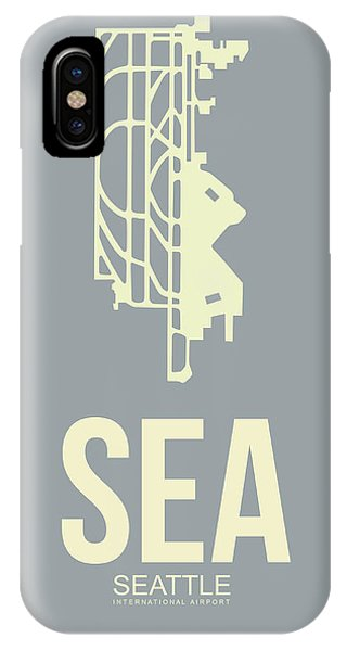 Seattle iPhone X Case - Sea Seattle Airport Poster 3 by Naxart Studio