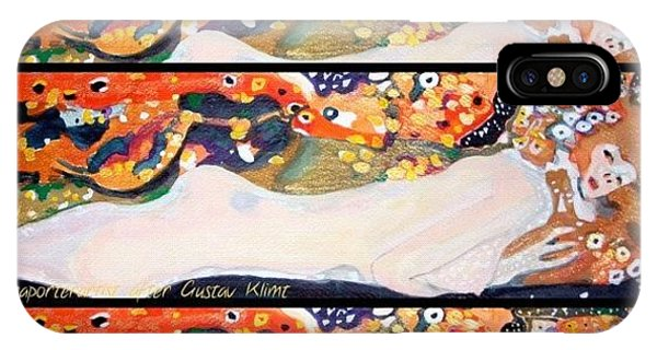 Watercolor iPhone Case - Sea Serpent IIi Tryptic After Gustav Klimt by Anna Porter