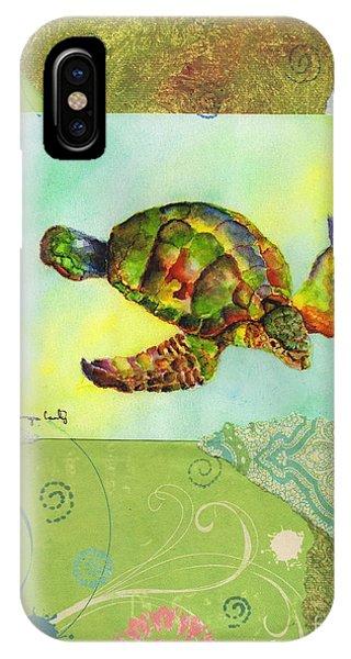 Sea Turtle Flight Mixed Media IPhone Case