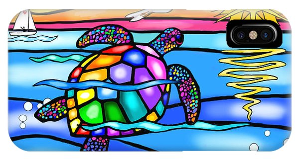 Sea Turtle In Turquoise And Blue IPhone Case