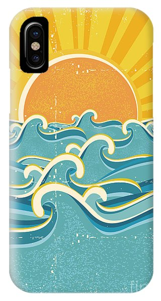 Wet iPhone Case - Sea Waves And Yellow Sun On Old Paper by Tancha