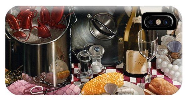 Stainless Steel iPhone Case - Seafood Serenade 1996  Skewed Perspective Series 1991 - 2000 by Lawrence Preston