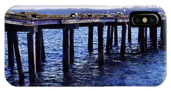 Whidbey iPhone Case - Seagulls On A Pier, Whidbey Island by Panoramic Images