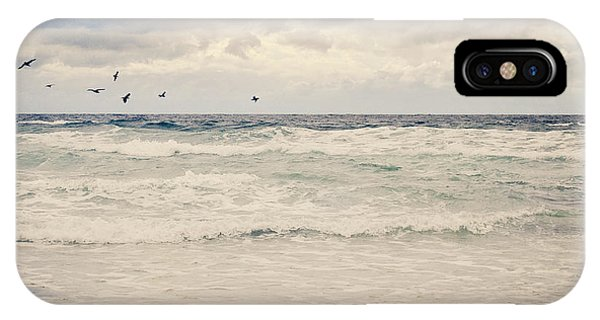 Seagulls Take Flight Over The Sea IPhone Case