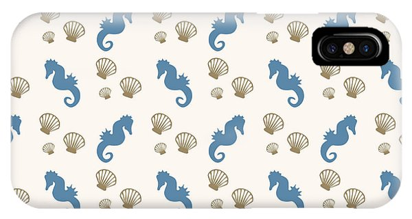 Aquatic iPhone Case - Seahorse And Shells Pattern by Christina Rollo