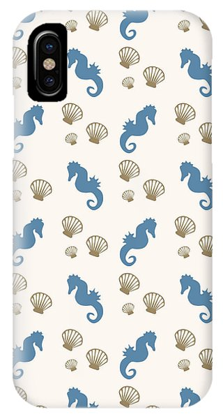 Tropical iPhone Case - Seahorse And Shells Pattern by Christina Rollo