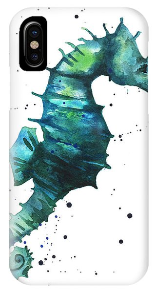 Seahorse In Teal IPhone Case