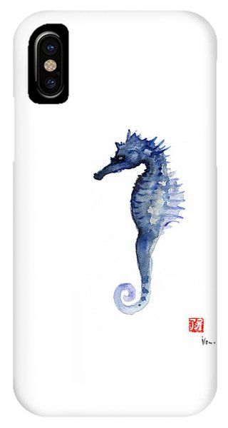 Seahorse iPhone Case - Seahorse Sea Horse Blue Fish Water Colors Collection Fishes Watercolor Painting by Johana Szmerdt
