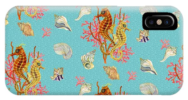 Repeat iPhone Case - Seahorses Coral And Shells by Kimberly McSparran