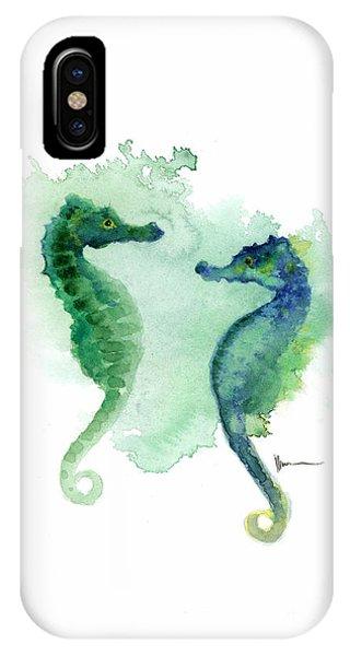Seahorse iPhone Case - Seahorses Watercolor Art Print Painting Two Seahorses Artwork by Joanna Szmerdt
