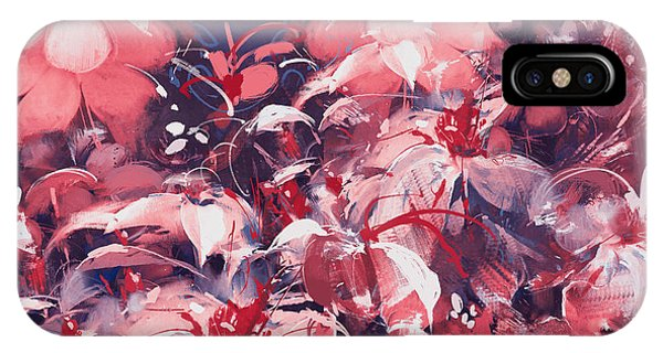 Pink Flower iPhone Case - Seamless Abstract Flowers,oil Painting by Tithi Luadthong