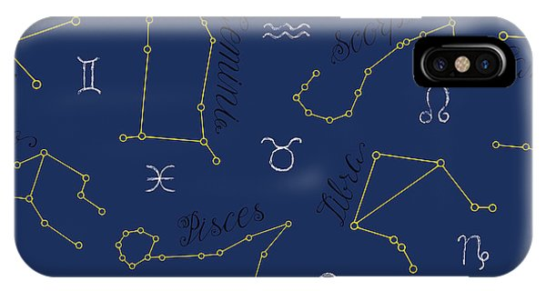 Magic iPhone Case - Seamless Background With Zodiac by Vera Petruk
