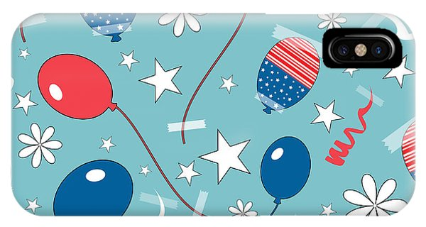 Vector Graphics iPhone Case - Seamless Pattern For 4th Of July by Allies Interactive