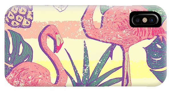 Shadow iPhone Case - Seamless Pattern With Flamingo Birds by Julia blnk