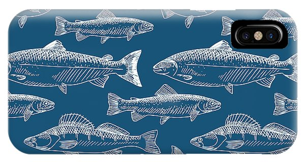 Fins iPhone Case - Seamless Pattern With Hand Drawn Fish by Radiocat