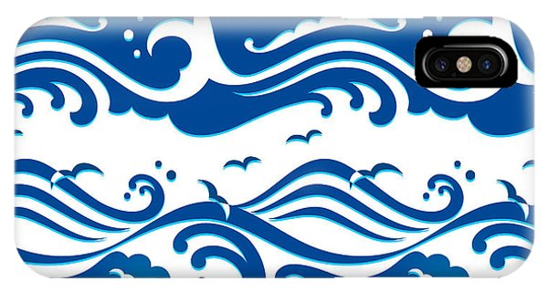 Seagull iPhone Case - Seamless Stormy Ocean Waves Pattern by Sahua D
