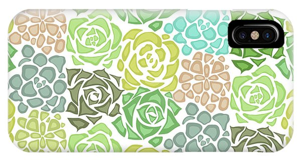 Seamless Texture With Flat Succulents IPhone Case