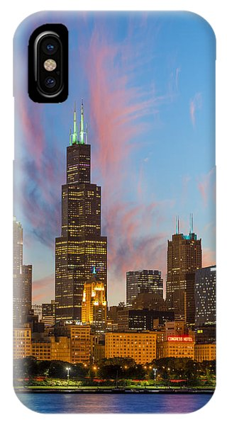 IPhone Case featuring the photograph Sears Tower Sunset by Sebastian Musial