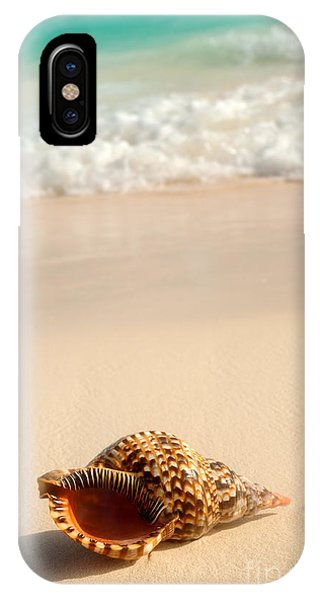 Sand iPhone Case - Seashell And Ocean Wave by Elena Elisseeva