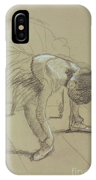 Pastel Pencil iPhone Case - Seated Dancer Adjusting Her Shoes by Edgar Degas