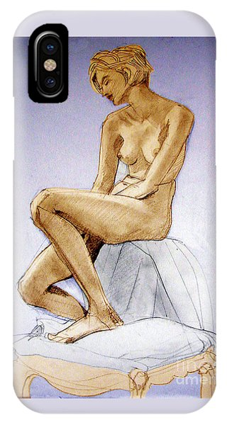 Tinted Figure Drawing Of A Seated Female Nude Dreaming IPhone Case