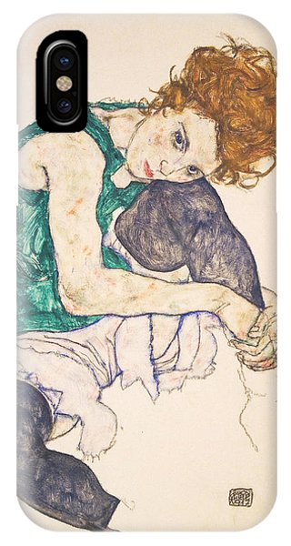 Adele iPhone Case - Seated Woman With Legs Drawn Up. Adele Herms by Egon Schiele