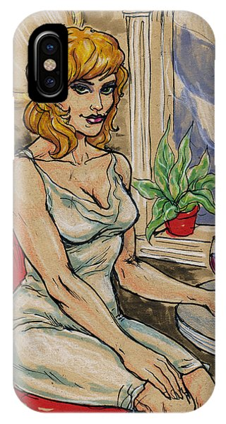 Seated Woman With Wine IPhone Case